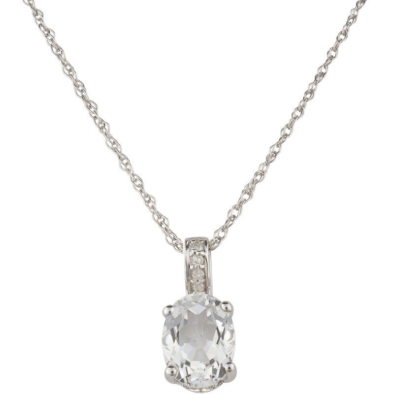 Birthstone Collection Sale: 14kw White Topaz / Diamond Pendant