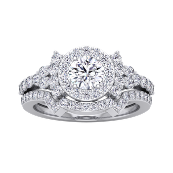 Lab Certified 1-7/8ctw Round Halo Engagement Ring
