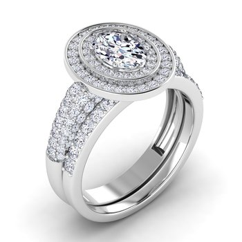 Certified 1 5/8ctw Double Halo Engagement Ring