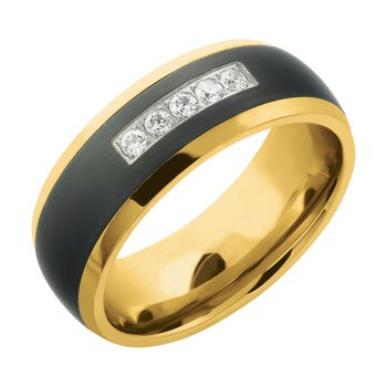 8mm Yellow Tungsten/Steel Diamond Band