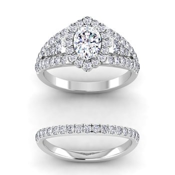 Certified 1 7/8ctw Oval Halo Engagement Rings