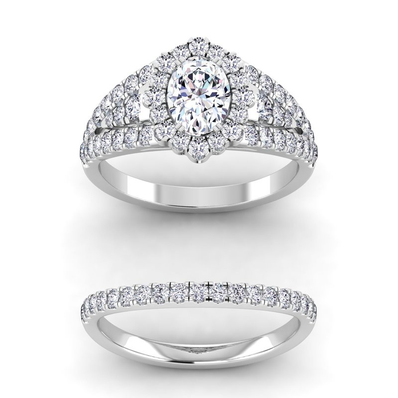 Lab Grown Diamonds Certified 1 7/8ctw Oval Halo Engagement Rings