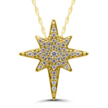 .12ctw Star of Bethlehem Pendant Diamond Necklace Available in YG/WG