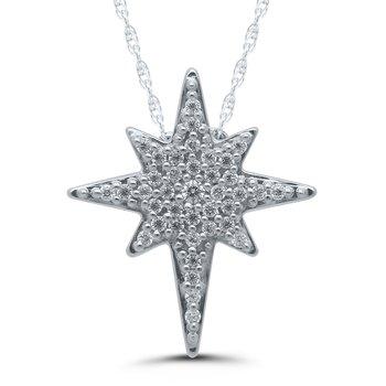 .12ctw Star of Bethlehem Pendant Diamond Necklace Available in YG/WG