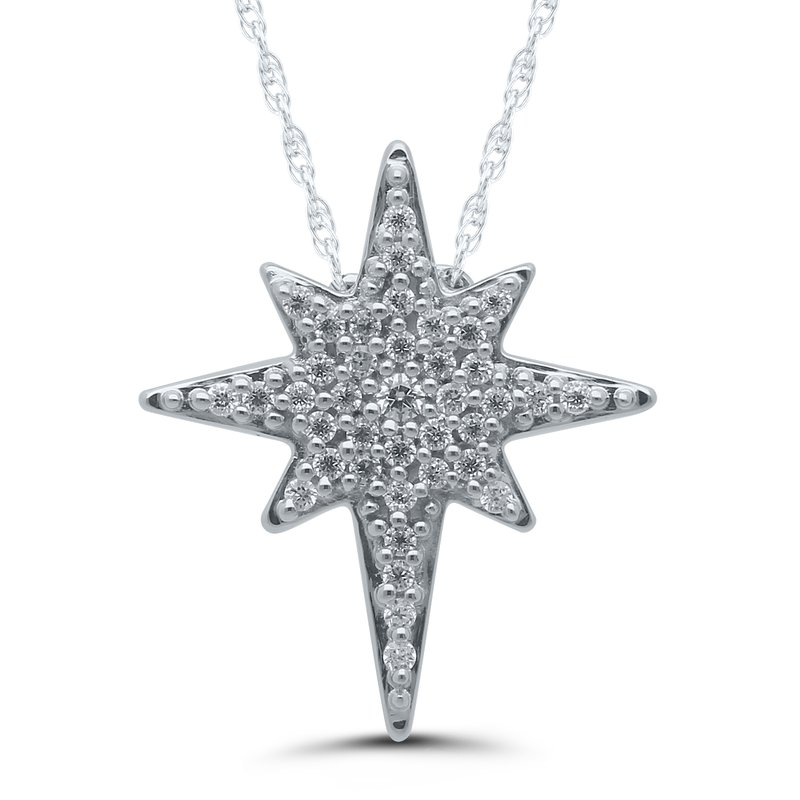 Saslow's & Henebry's Collection .12ctw Star of Bethlehem Pendant Diamond Necklace Available in YG/WG
