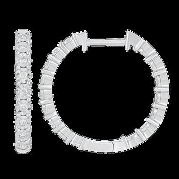 Silver 1/4ctw Diamond Hoop Earrings