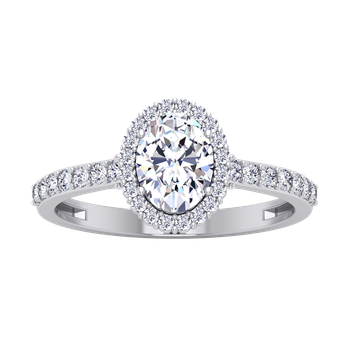 Certified 1 1/3ctw Oval Halo Engagement Ring