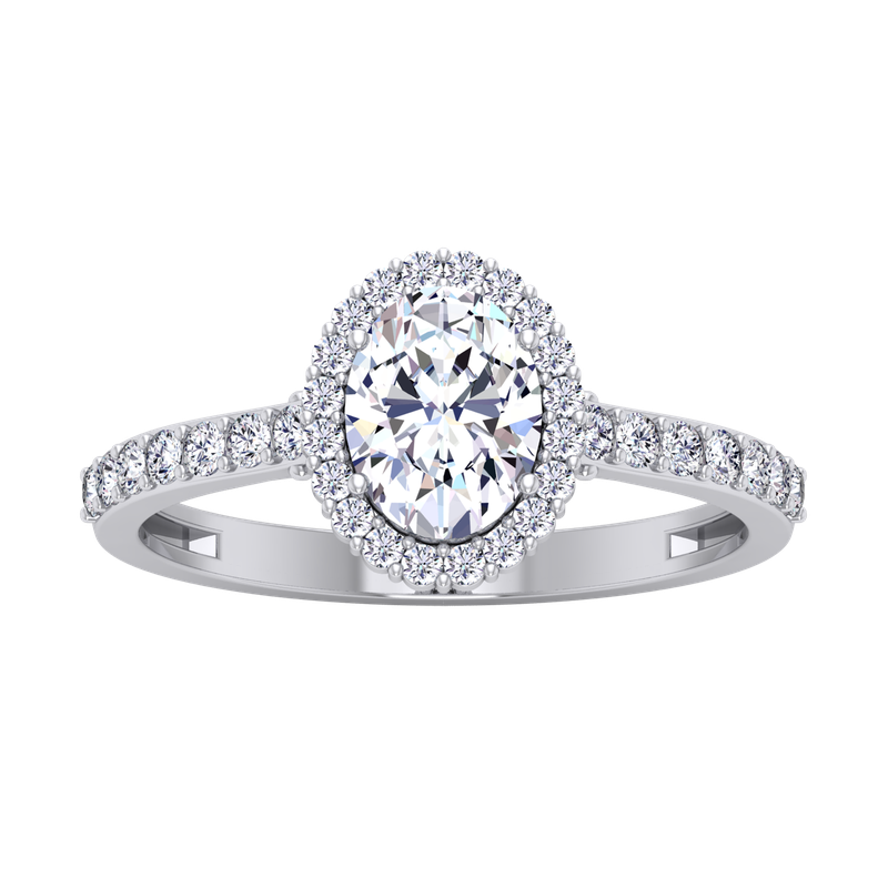 Lab Grown Diamonds Certified 1 1/3ctw Oval Halo Engagement Ring