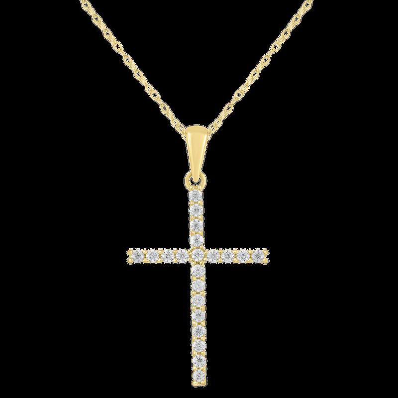 Saslow's & Henebry's Collection Yellow Gold 1/4ctw Diamond Cross Pendant