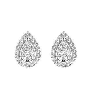 .25ctw Pear Shaped Cluster Halo Earrings