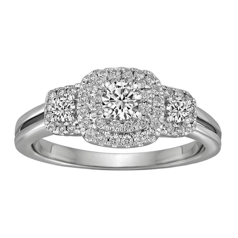 Blissful Bride .60 CTW 3-Stone Halo Bridal Set