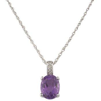 14kw Amethyst / Diamond Pendant