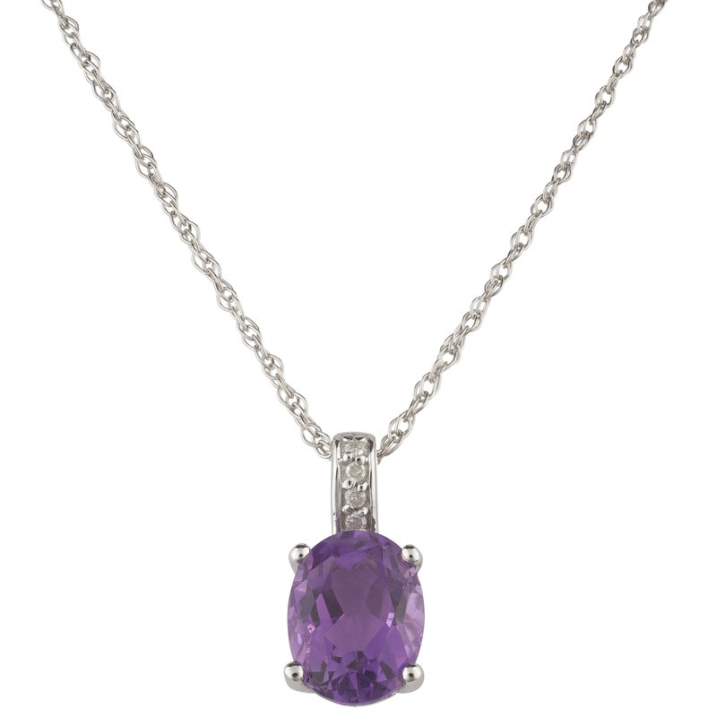 Birthstone Collection 14kw Amethyst / Diamond Pendant