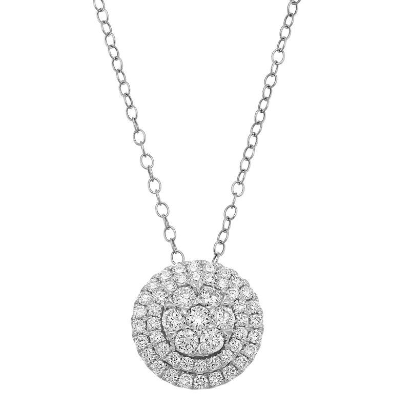 Lab Grown Diamonds 1ctw Diamond Double Halo Pendant