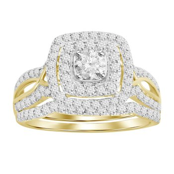 Certified 14k 1 Ctw Gold Double Halo Round Cut Bridal Set