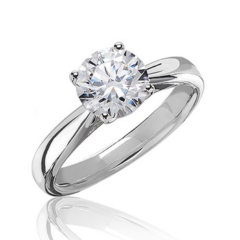 Certified 1 Ct Hearts & Arrows Round Solitaire Engagement Ring