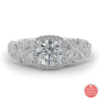 1.07 ctw Diamond Halo Engagement Ring