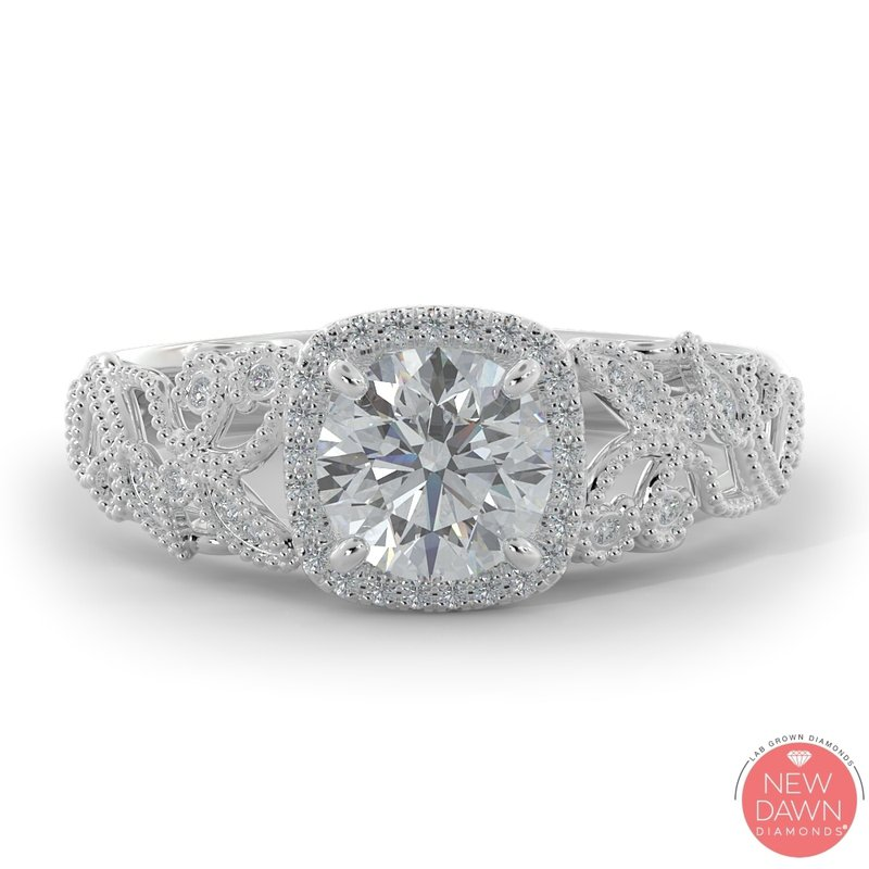 Lab Grown Diamonds 1.07 ctw Lab Grown Halo Engagement Ring