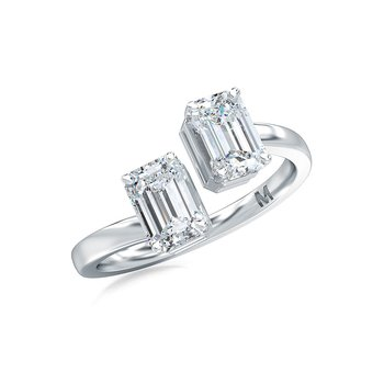 Vertical Set Emerald Cut Two Stone Ring