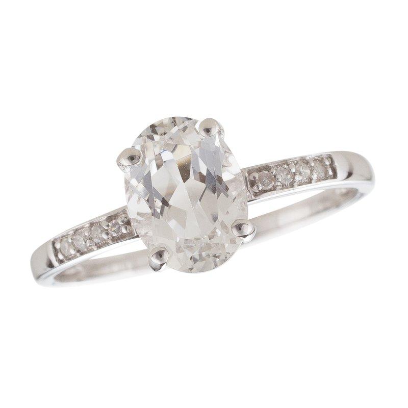 Birthstone Collection 14kw White Topaz / Diamond Ring