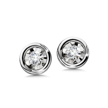 Star Bezel Earrings Your Choice YG/WG