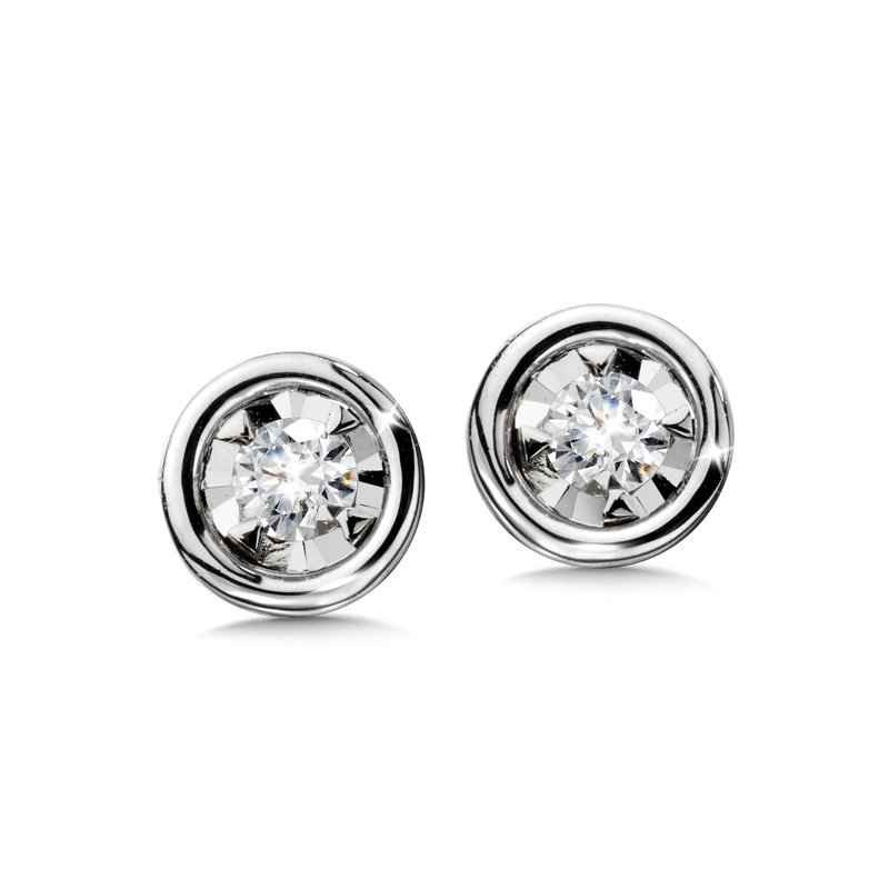 Saslow's & Henebry's Collection Star Bezel Earrings Your Choice YG/WG