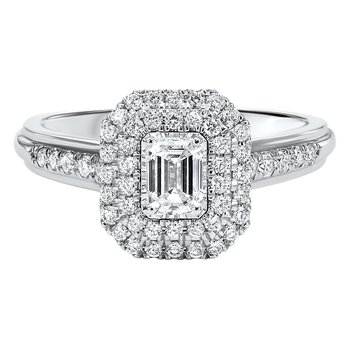 Emerald Cut Double Halo With 1/3ct Center Tru Reflections Engagement Ring