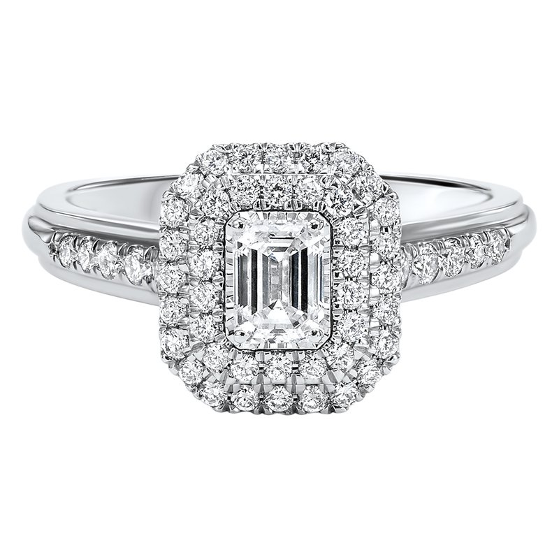 Promise Forever Emerald Cut Double Halo With 1/3ct Center Tru Reflections Engagement Ring