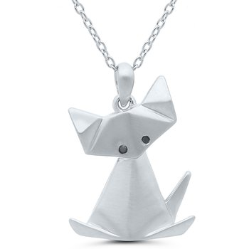 Origami Cat SS Necklace