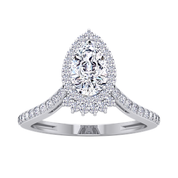 Certified 1 1/3ctw Pear Halo Engagement