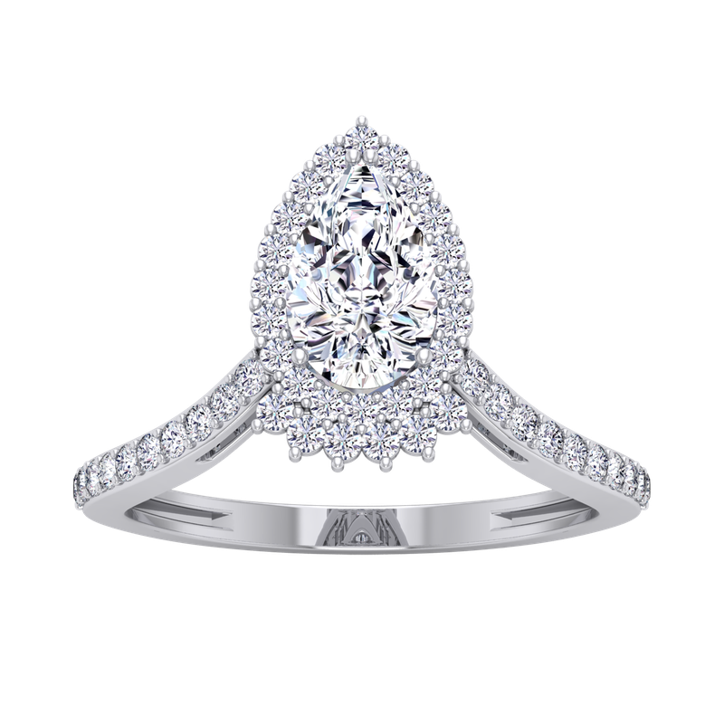 Lab Grown Diamonds Certified 1 1/3ctw Pear Halo Engagement