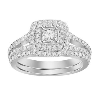 Certified 14k 1 Ctw Double Halo Princess Cut Bridal Set