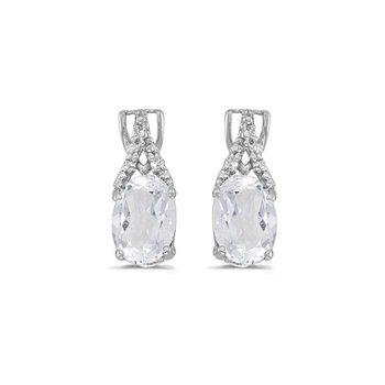 14k White Gold Oval White Topaz And Diamond Earrings