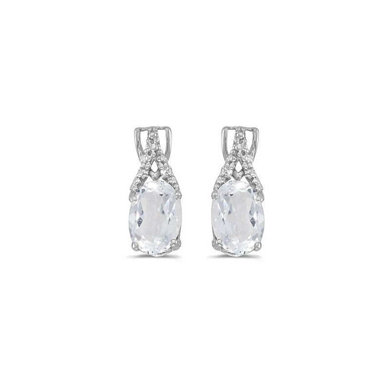 Birthstone Collection 14k White Gold Oval White Topaz And Diamond Earrings