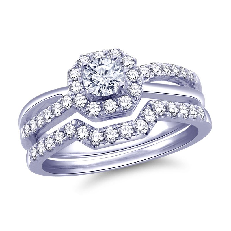 Royal Colorless 14K White Gold 3/4Cttw. Band Features  2/9 Ct Center Surrounded By 1/2Ct Of Royal Colorless Diamonds