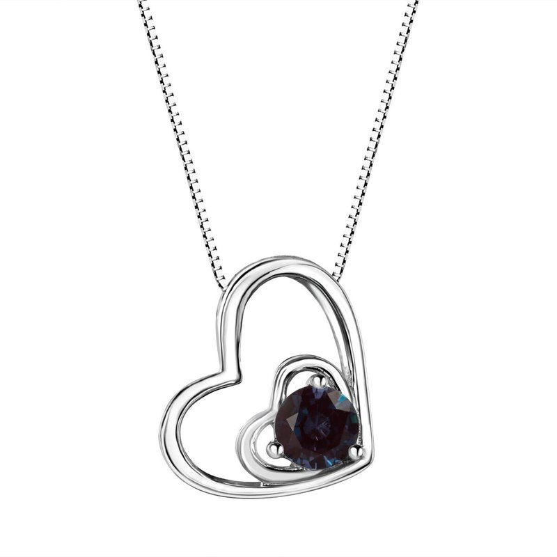 Birthstone Collection Alexandrite Double Heart Sterling Silver Pendant