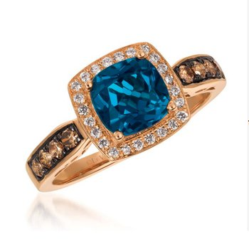 14K Strawberry Gold® Deep Sea Blue Topaz™ 1 5/8 cts. Ring with Chocolate Diamonds® 1/4 cts., Vanilla Diamonds® 1/8 cts.