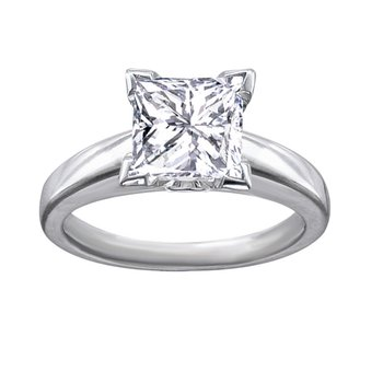 Certified 3/4 CT Princess Cut Solitaire Engagement Ring