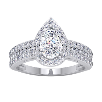 Certified 1 3/4ctw Diamond Pear Shaped Halo Engagement Ring