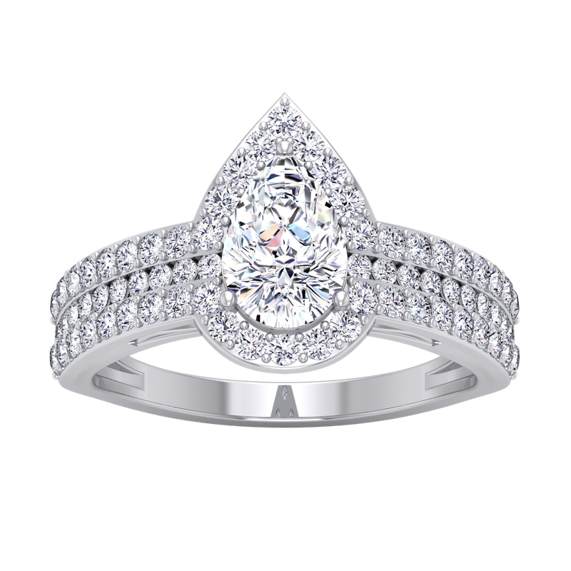 Lab Grown Diamonds Certified 1 3/4ctw Diamond Pear Shaped Halo Engagement Ring
