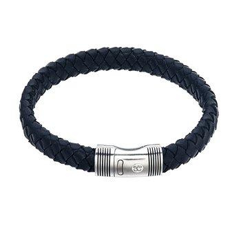 Black Leather and Steel Bracelet