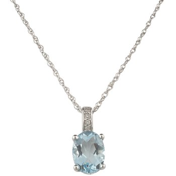14kw Aqua / Diamond Pendant