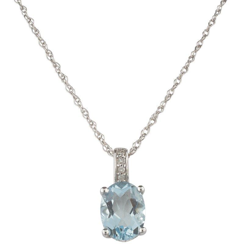 Birthstone Collection 14kw Aqua / Diamond Pendant