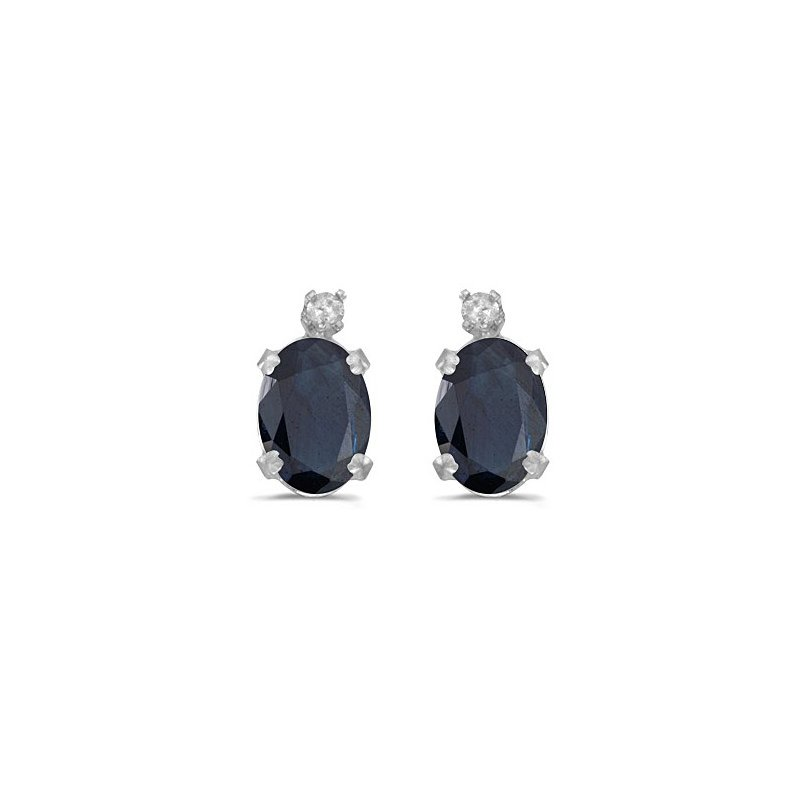 Birthstone Collection 14k White Gold Oval Sapphire And Diamond Earrings