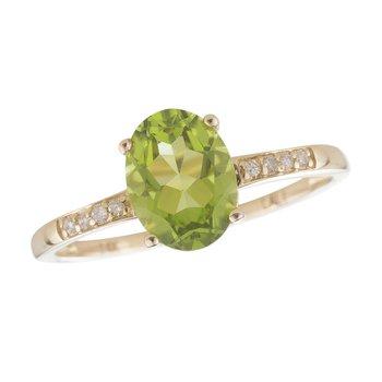 14ky Peridot / Diamond Yellow Gold Ring