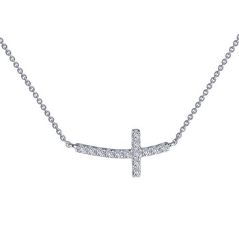 Sideways Curved Cross Necklace
