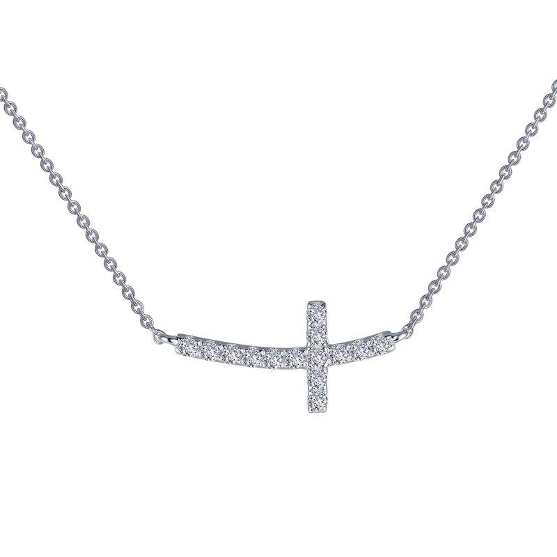 LaFonn Sideways Curved Cross Necklace