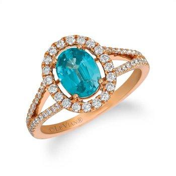 Blueberry Zircon with Vanilla Diamonds Set in 14k Strawberry Gold Ring