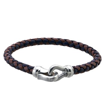 Black and Brown Leather and Steel Bracelet