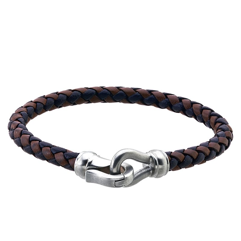 Esquire Men's Jewelry Black and Brown Leather and Steel Bracelet